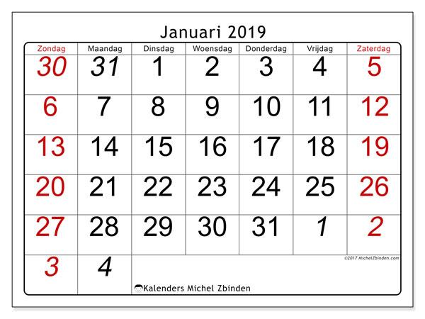 Kalender januari 2019, 72ZZ. Gratis kalender om af te drukken.