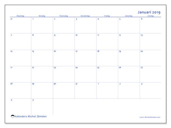 Kalender januari 2019 (73MZ). Kalender om gratis af te drukken.