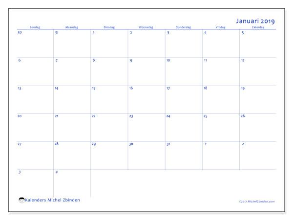 Kalender januari 2019, 73ZZ. Agenda om gratis te printen.