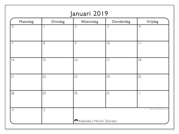 Kalender januari 2019 (74MZ). Kalender om gratis te printen.