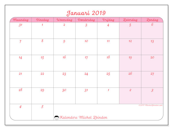 Kalender januari 2019 (76MZ). Kalender om gratis af te drukken.