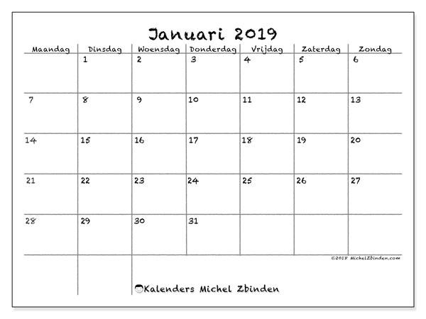 Kalender januari 2019, 77MZ. Maandkalender om gratis te printen.