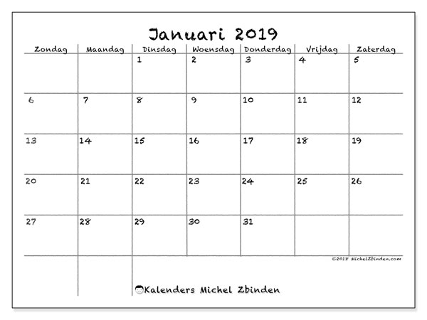 Kalender januari 2019, 77ZZ. Agenda om gratis te printen.