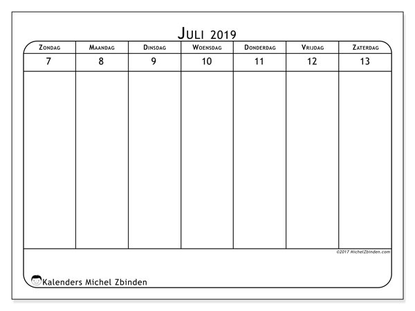 Kalender juli 2019, 43-2ZZ. Wekelijkse kalender om gratis te printen.