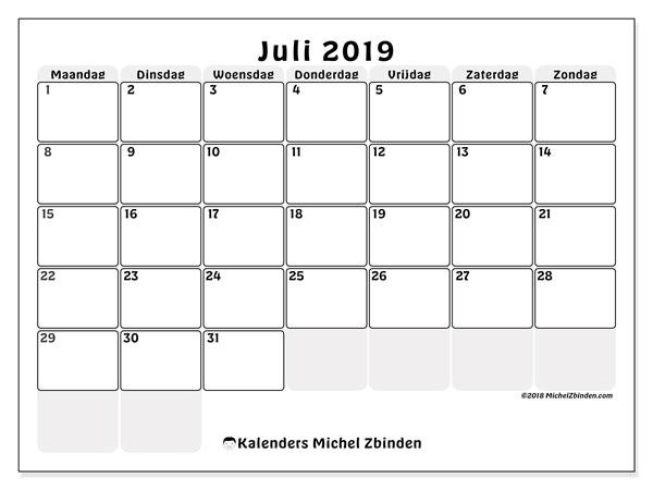 Kalender  juli 2019, 44MZ