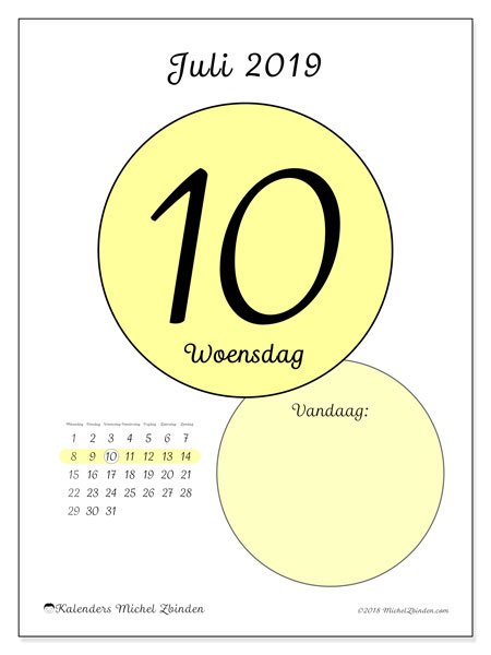 Kalender juli 2019, 45-10MZ. Dagelijkse kalender om gratis te printen.