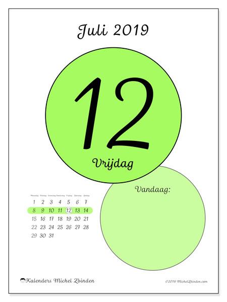 Kalender juli 2019, 45-12MZ. Kalender voor de dag om gratis te printen.