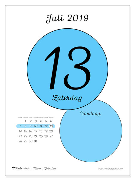 Kalender juli 2019, 45-13ZZ. Dagelijkse kalender om gratis te printen.