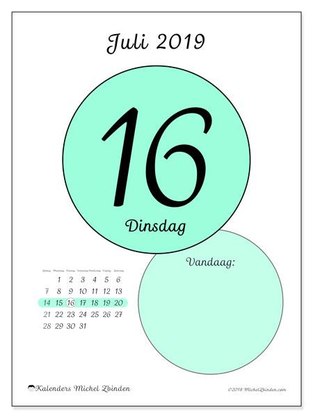 Kalender juli 2019, 45-16ZZ. Kalender voor de dag om gratis te printen.