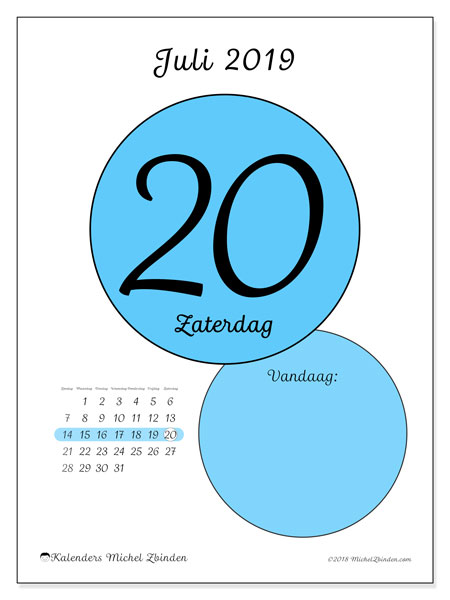 Kalender juli 2019, 45-20ZZ. Kalender voor de dag om gratis te printen.
