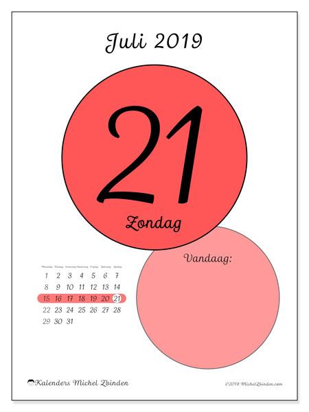 Kalender juli 2019, 45-21MZ. Kalender voor de dag om gratis te printen.