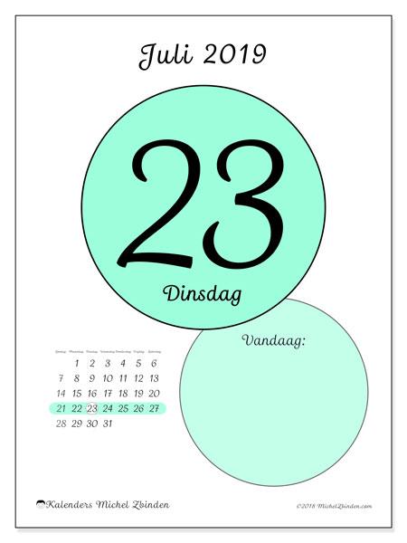 Kalender juli 2019, 45-23ZZ. Dagelijkse kalender om gratis te printen.