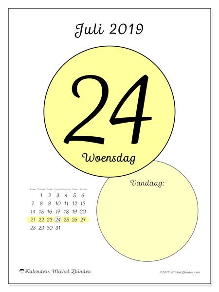 Kalender juli 2019, 45-24ZZ. Dagelijkse kalender om gratis te printen.