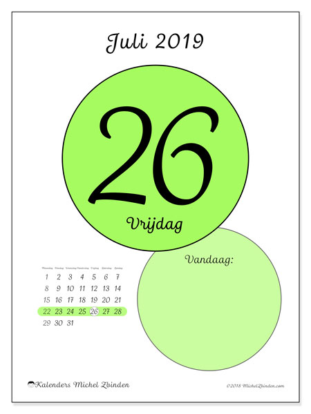 Kalender juli 2019, 45-26MZ. Dagelijkse kalender om gratis te printen.