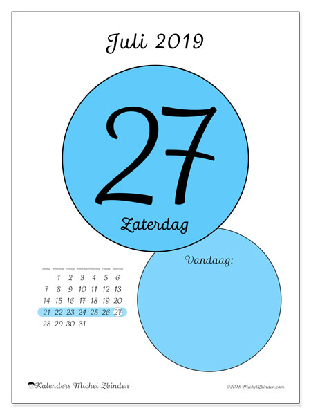 Kalender juli 2019, 45-27ZZ. Kalender voor de dag om gratis te printen.