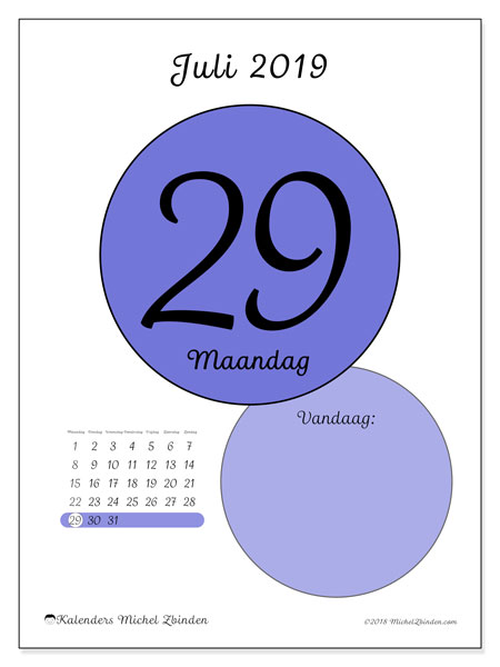 Kalender juli 2019, 45-29MZ. Dagelijkse kalender om gratis te printen.