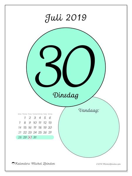 Kalender juli 2019, 45-30ZZ. Kalender voor de dag om gratis te printen.