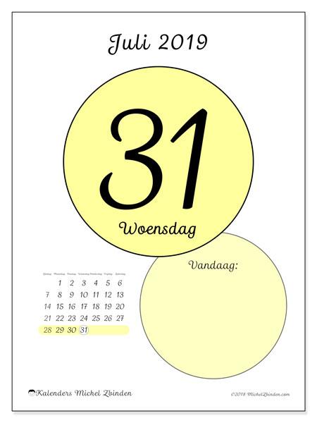 Kalender juli 2019, 45-31ZZ. Kalender voor de dag om gratis te printen.