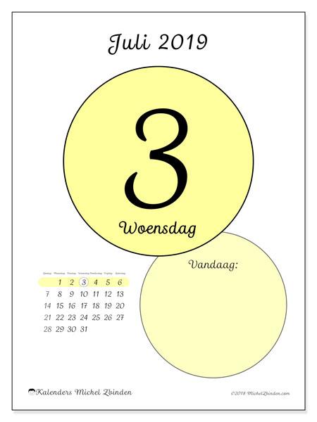 Kalender juli 2019, 45-3ZZ. Kalender voor de dag om gratis te printen.