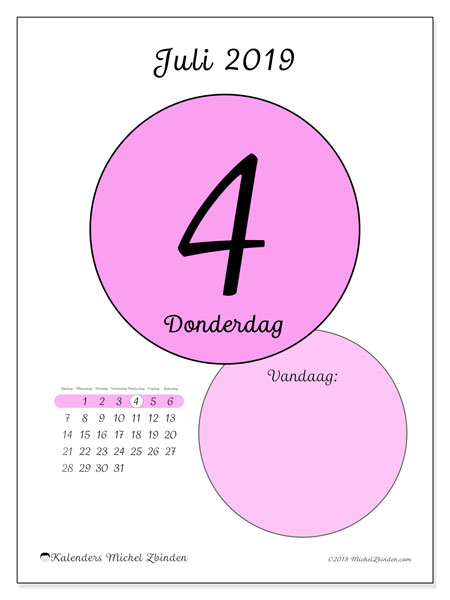 Kalender juli 2019, 45-4ZZ. Dagelijkse kalender om gratis te printen.