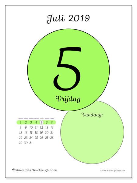 Kalender juli 2019, 45-5MZ. Kalender voor de dag om gratis te printen.