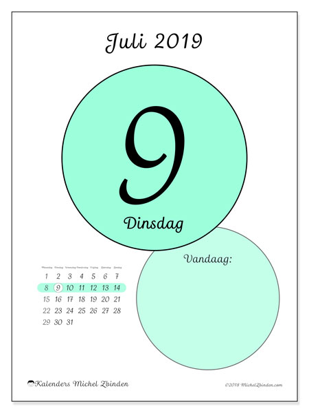 Kalender juli 2019, 45-9MZ. Dagelijkse kalender om gratis te printen.