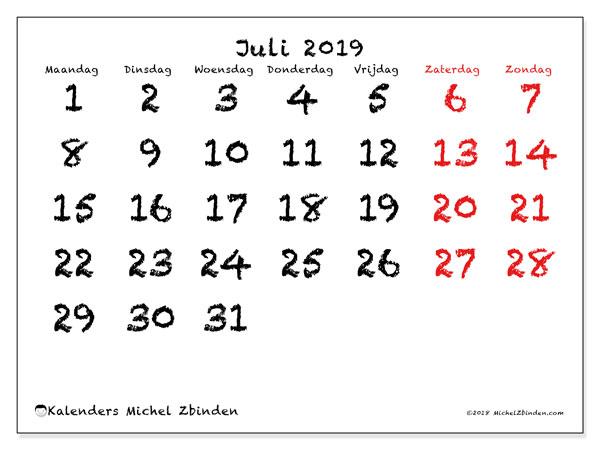 Kalender juli 2019, 46MZ. Gratis printbare kalender.