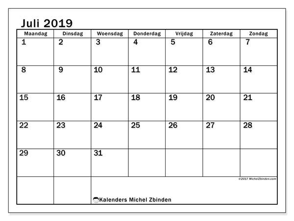 Kalender juli 2019, 50MZ. Gratis kalender om af te drukken.