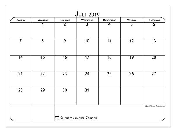 Kalender juli 2019, 51ZZ. Gratis kalender om af te drukken.