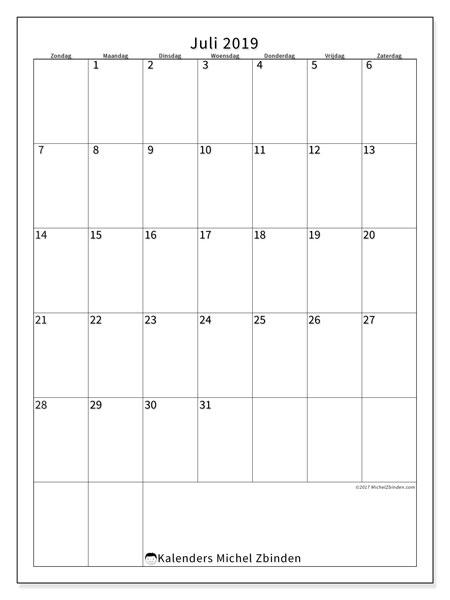 Kalender juli 2019, 52ZZ. Agenda om gratis te printen.