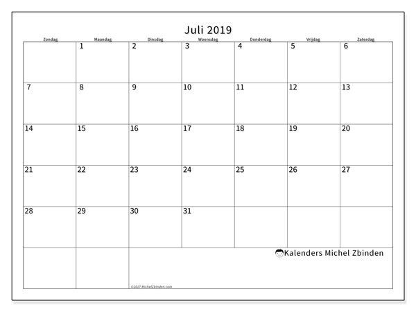 Kalender juli 2019, 53ZZ. Agenda om gratis te printen.