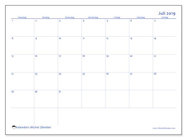 Kalender juli 2019, 55MZ. Kalender om gratis af te drukken.