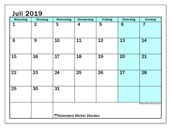 Kalender juli 2019, 59MZ. Maandkalender om gratis te printen.