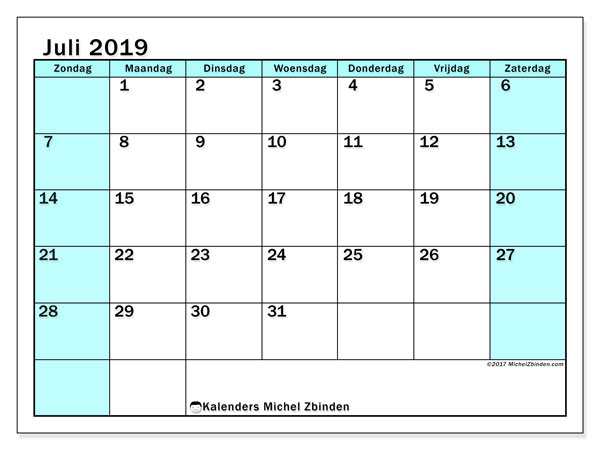 Kalender juli 2019, 59ZZ. Gratis printbare kalender.