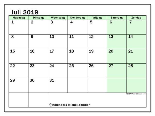 Kalender juli 2019, 60MZ. Kalender om gratis te printen.
