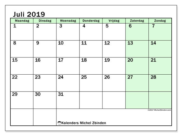 Kalender juli 2019, 60MZ. Gratis afdrukbare kalender.