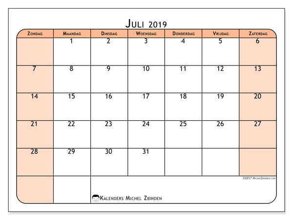 Kalender juli 2019, 61ZZ. Agenda om gratis te printen.