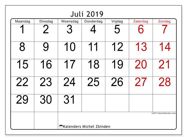 Kalender juli 2019, 62MZ. Agenda om gratis te printen.