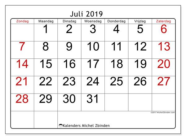 Kalender juli 2019, 62ZZ. Maandkalender om gratis te printen.