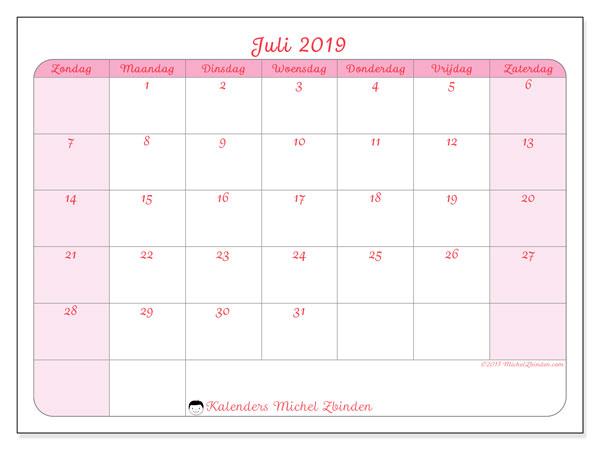 Kalender juli 2019, 63ZZ. Kalender voor de maand die gratis moet worden afgedrukt.