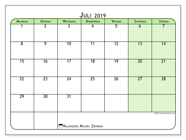 Kalender juli 2019, 65MZ. Kalender voor de maand die gratis moet worden afgedrukt.