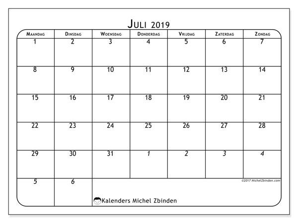 Kalender juli 2019, 67MZ. Gratis afdrukbare kalender.