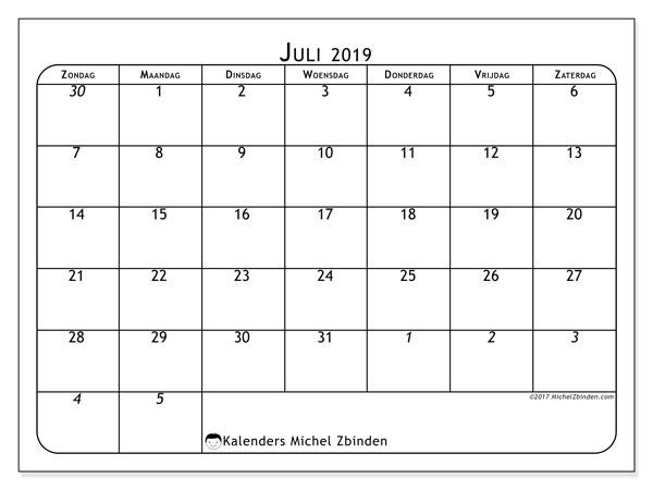 Kalender juli 2019, 67ZZ. Kalender om gratis te printen.