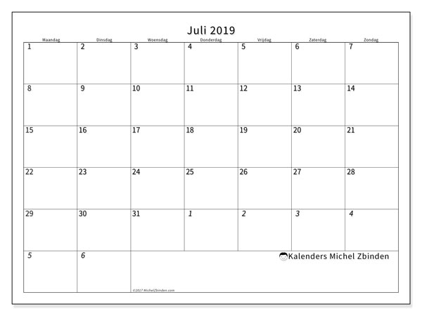 Kalender juli 2019, 70MZ. Kalender om gratis te printen.