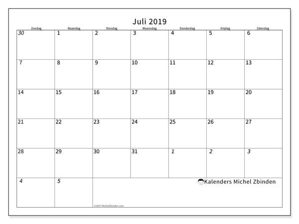 Kalender juli 2019, 70ZZ. Kalender om gratis af te drukken.