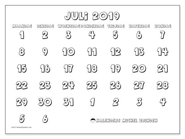 Kalender juli 2019, 71MZ. Agenda om gratis te printen.