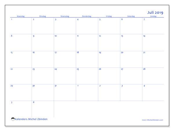 Kalender juli 2019, 73MZ. Kalender om gratis af te drukken.