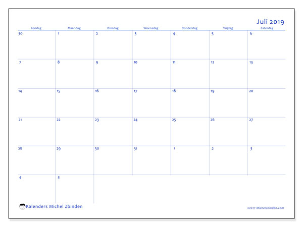 Kalender juli 2019, 73ZZ. Gratis printbare kalender.