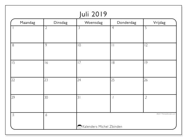 Kalender juli 2019, 74ZZ. Kalender om gratis af te drukken.