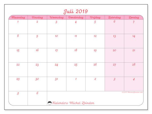 Kalender juli 2019, 76MZ. Kalender om gratis te printen.